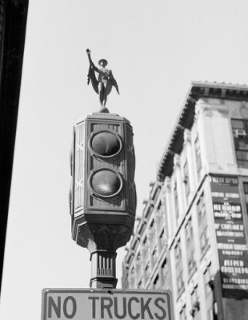 USA  New York State  New York City  Figure of Mercury on the top of traffic signal light along Fifth Avenue Poster Print - Item # VARSAL255419413