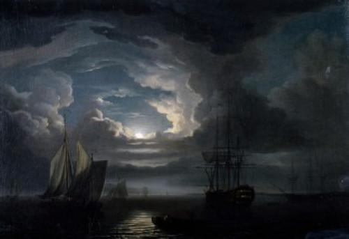 Shipping in a Calm Offshore by Moonlight by John Thomas Serres  Poster Print - Item # VARSAL900137136