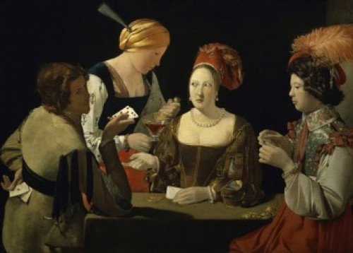 The Cheat with the Ace of Diamonds   c. 1635  Georges de la Tour  Oil on canvas   Musee du Louvre  Paris  Poster Print - Item # VARSAL11582115