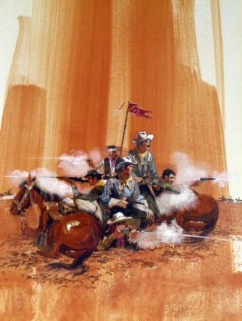Group of cowboys shooting guns by horses Poster Print - Item # VARSAL902136623