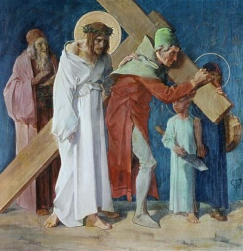 Simon of Cyrene Helps Jesus  5th Station of the Cross  Feuerstein  Martin  19thC.-  German  St. Anna Church  Munich  Germany Poster Print - Item # VARSAL900289