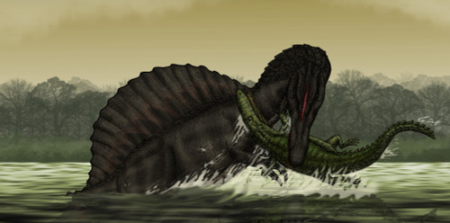 A Spinosaurus catches a young Stomatosuchus Poster Print - Item # VARPSTVVA600014P