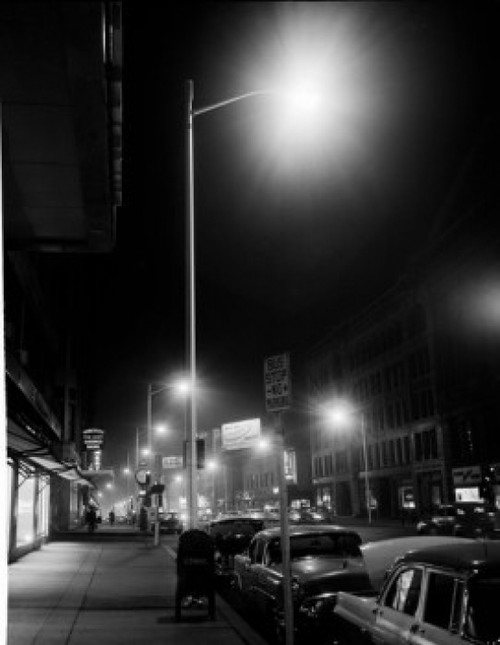 USA  Massachusetts  Worcester  Downtown area showing newly installed lights  night view Poster Print - Item # VARSAL255419479