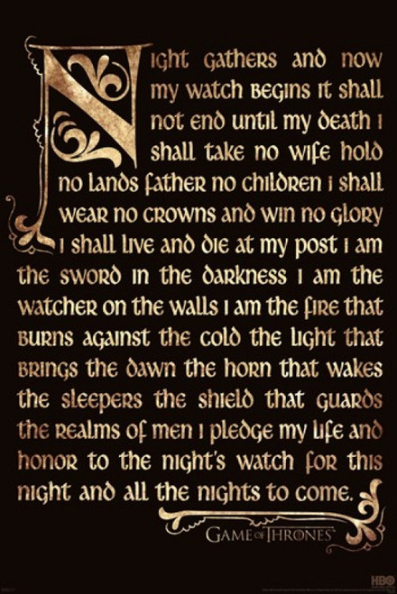 Game of Thrones - Night's Watch Oath Poster Poster Print - Item # VARPYRPP33071