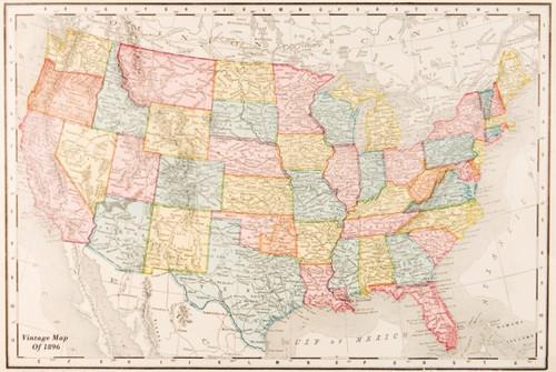 Map of USA - Vintage 1896 Poster Poster Print - Item # VARPYRPAS0818