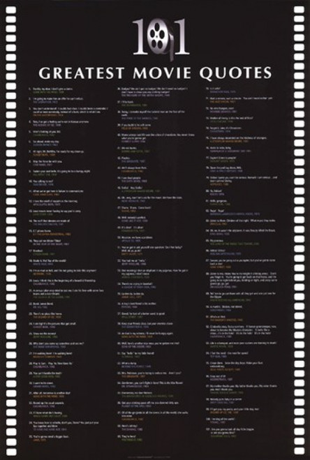 101 Greatest Movie Quotes Poster Poster Print - Item # VARIMPST4550R