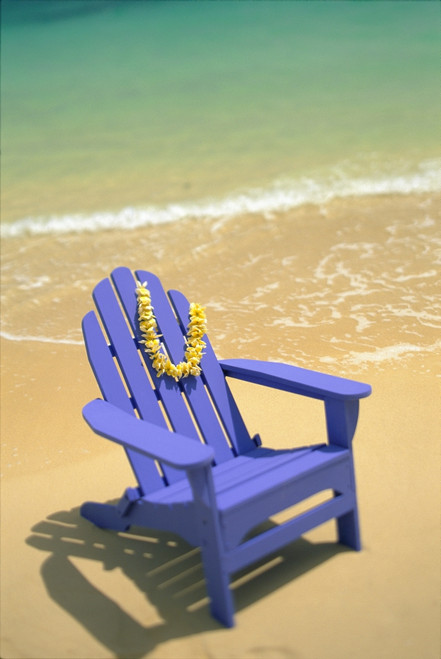 Blue Chair Along Shoreline With Plumeria Lei Hanging On Side PosterPrint - Item # VARDPI2001059