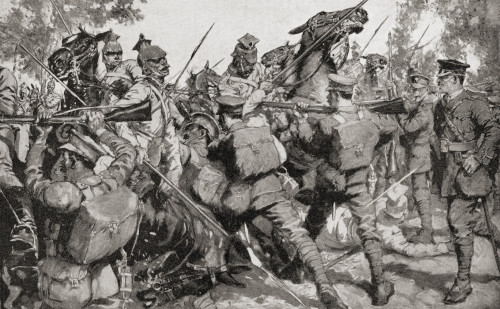Irish Guards beat back a German cavalry charge with bayonets during WWI.  From The War Illustrated Album Deluxe, published 1915. Poster Print by Hilary Jane Morgan / Design Pics - Item # VARDPI12285533