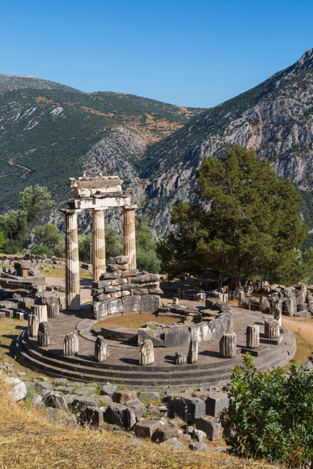 Delphi, Phocis, Greece. The tholos, dating from around 380-360 BC, beside the Sanctuary of Athena Pronaia. Ancient Delphi is a UNESCO World Heritage Site. Poster Print by Panoramic Images - Item # VARPPI170190