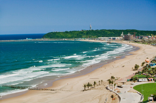Aerial view of Indian Ocean and white sandy beaches in the town center of Durban, South Africa Poster Print by Panoramic Images - Item # VARPPI182148