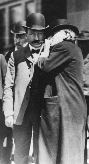 Abraham Ruef (1864-1936). /Namerican Lawyer And Politician. Ruef (Left) Conferring With His Attorney Outside The Courthouse At San Francisco, 1908, During His Trial For Bribing City Officials. Poster Print by Granger Collection - Item # VARGRC0071028