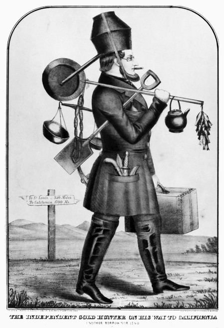 Gold Rush Cartoon, C1850. /N'The Indepenent Gold Hunter On His Way To California.' American Lithograph, C1850. Poster Print by Granger Collection - Item # VARGRC0118367