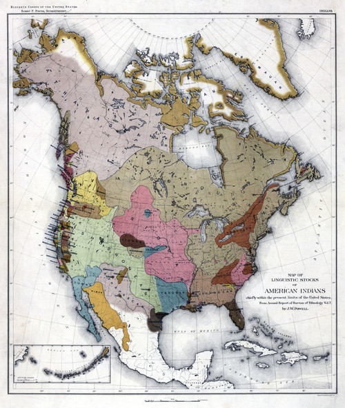 Map: American Indians. /N'Map Of Linguistic Stocks Of American Indians.' Lithograph, 1890. Poster Print by Granger Collection - Item # VARGRC0326705