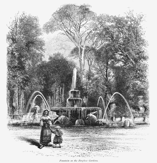 Rome: Borghese Gardens. /Nfountain In The Borghese Gardens. Wood Engraving, 19Th Century. Poster Print by Granger Collection - Item # VARGRC0078543