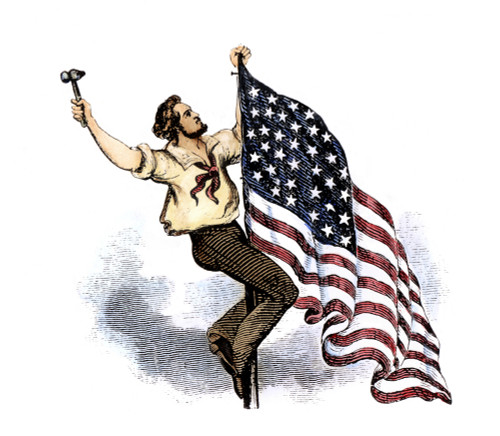 U.S. Flag, 19Th Century. /Nraising The United States Flag: Wood Engraving, Poster Print by Granger Collection - Item # VARGRC0072379