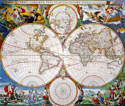 World Map, 17Th Century. /Nnicolaas Visscher'S World Map, From Jan Jansson'S 'Novus Atlas,' 1647-1662, With Scenes From Classical Mythology. Poster Print by Granger Collection - Item # VARGRC0057576