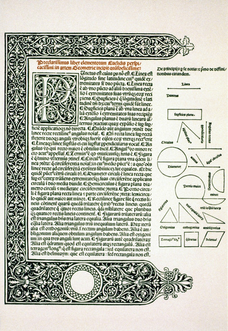"""Euclid: Geometry Ms. /Npage From Euclid'S """"Opus Elementorum...In Artem Geometriae,"""" Venice, 1482. Poster Print by Granger Collection - Item # VARGRC0023251"""