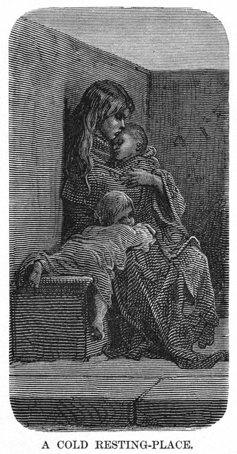Dor_: London: 1873. /N'A Cold Resting-Place.' Wood Engraving After Gustave Dor_ From 'London: A Pilgrimage,' 1873. Poster Print by Granger Collection - Item # VARGRC0354642