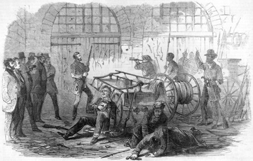 Harper'S Ferry, 1859. /Njohn Brown And Others With Rifles And Pikes, With Hostages Inside The Engine House Of The Harpers Ferry Armory, 18 October 1859. Wood Engraving, American, 1859. Poster Print by Granger Collection - Item # VARGRC0113488