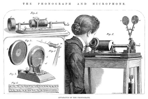 Edison: Phonograph, 1878. /N'Apparatus Of The Phonograph.' Thomas A. Edison'S Phonograph. Line Engraving, English, 1878. Poster Print by Granger Collection - Item # VARGRC0031885