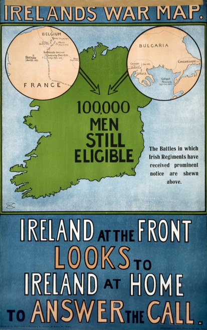 Wwi: Poster, 1915. /N'Irelands War Map.' Irish Recruitment Poster. Lithograph, 1915. Poster Print by Granger Collection - Item # VARGRC0354512