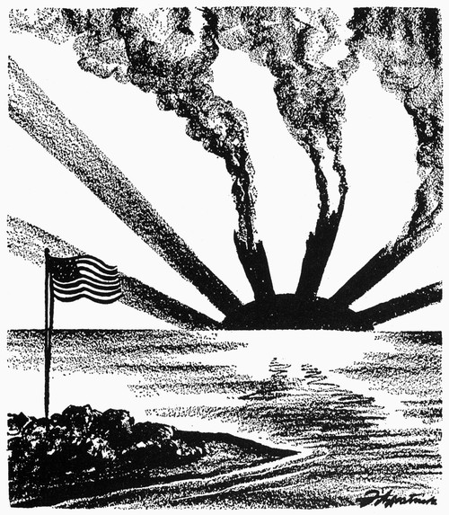 World War Ii: Cartoon. /N'Rising Sun At Midway.' American Cartoon By. D.R. Fitzpatrick, 1942, On The Decisive Allied Victory Over The Japanese At The Battle Of Midway, 3-6 June 1942. Poster Print by Granger Collection - Item # VARGRC0033417