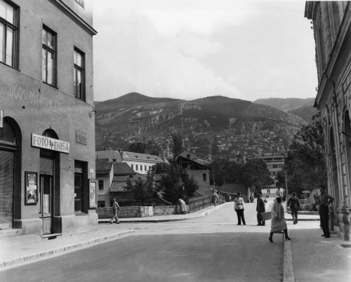Bosnia: Sarajevo, C1947. /Nthe Corner In Sarajevo, In Present-Day Bosnia And Herzegovina, Where Archduke Franz Ferdinand Of Austria Was Assassinated On 28 June 1914. Photograph, C1947. Poster Print by Granger Collection - Item # VARGRC0183916