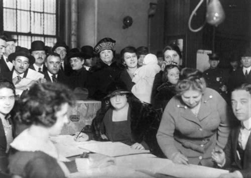 Voting Poll, 1922. /Nmen And Women At Voting Poll On Oliver And Henry Streets In New York City. Photograph, 1922. Poster Print by Granger Collection - Item # VARGRC0106372