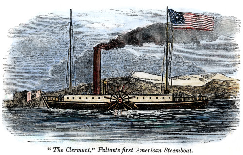 Robert Fulton'S Clermont. /Nrobert Fulton'S Steamboat, 'Clermont,' Built In 1807. Color Engraving, 1842. Poster Print by Granger Collection - Item # VARGRC0080292
