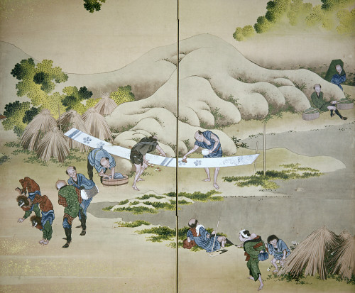 Japan: Cotton Processing. /Nusing Indigo, Rural Workers Put Designs On A Piece Of Cloth. Screen Painting, Late 18Th Century, By Katsushika Hokusai. Poster Print by Granger Collection - Item # VARGRC0103352