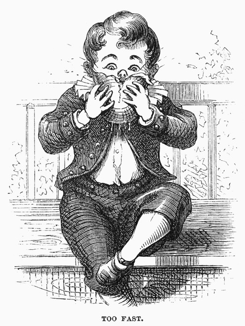 Boy Eating. /N'Too Fast.' Wood Engraving, American, 1876, After David Hunter Strother (Known As Porte Crayon). Poster Print by Granger Collection - Item # VARGRC0093510
