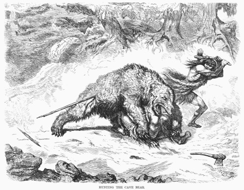Prehistoric Bear Hunt. /Nwood Engraving, American, 1873. Poster Print by Granger Collection - Item # VARGRC0096182