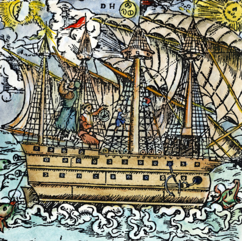 Mariners Sighting, 1557. /Nmariners Sighting On A Star With A Cross-Staff (Left) And On The Sun With An Astrolabe. German Woodcut, 1557. Poster Print by Granger Collection - Item # VARGRC0010693