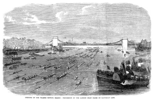 London: Rowing, 1865. /Nprocession Of The London Boat Clubs On The Thames River, The Opening Ceremony Of The Thames Rowing Season. Wood Engraving, English, April 1865. Poster Print by Granger Collection - Item # VARGRC0267305