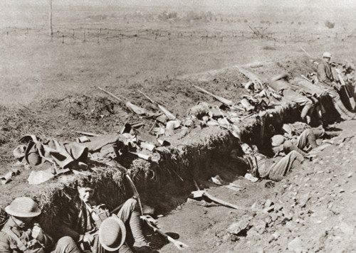 World War I: Trench, 1918. /Namerican Troops Resting In A Trench Near Beney, France, During The Meuse-Argonne Offensive Of World War I, 1918. Poster Print by Granger Collection - Item # VARGRC0407963