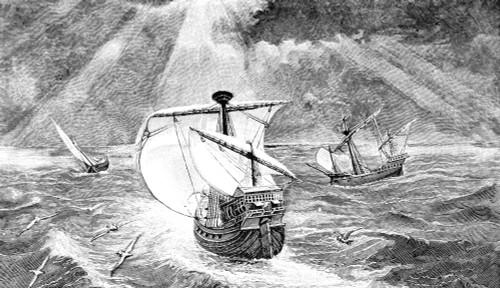 Columbus: Caravels, 1492. /Nthe Ships Of Christopher Columbus (The Nina, Pinta, And Santa Maria). Engraving, 1800S. Poster Print by Granger Collection - Item # VARGRC0002069