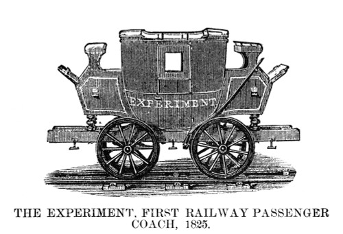 Railroad: Passenger Car. /Nthe 'Experiment.' The First Railway Passenger Coach Built In 1825. Engraving, American, 1881. Poster Print by Granger Collection - Item # VARGRC0267114
