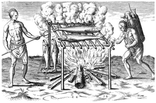 De Bry: Native American Cooking. /Npowhatan Native Americans Cooking Fish Over An Open Flame. Line Engraving By Theodor De Bry After John White, 1590, With Text By Thomas Harriot. Poster Print by Granger Collection - Item # VARGRC0011878