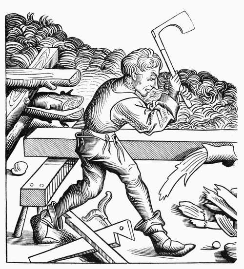Carpenter, 15Th Century. /Nfragment Of A Woodcut From The 15Th Century, After A Drawing From The 'Chronicle Of Nuremberg.' Poster Print by Granger Collection - Item # VARGRC0091453