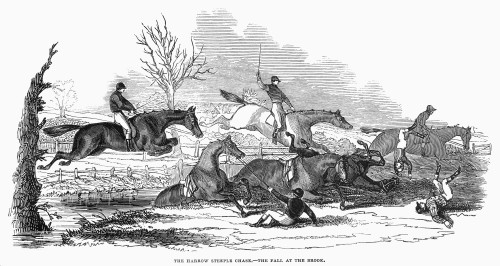 Steeplechase, 1845. /Nsteeplechase Racing At Harrow, England. Wood Engraving, 1845. Poster Print by Granger Collection - Item # VARGRC0097843