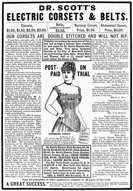 Electric Corset, 1887. /Ndr. Scott'S Electric Corsets And Belts. American Advertisement, 1887. Poster Print by Granger Collection - Item # VARGRC0061757