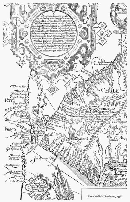 Straits Of Magellan, 1598. /Nthe Straits Of Magellan As Reproduced In John Wolfe'S 'Linschoten,' Published 1598, London, England. Poster Print by Granger Collection - Item # VARGRC0059118