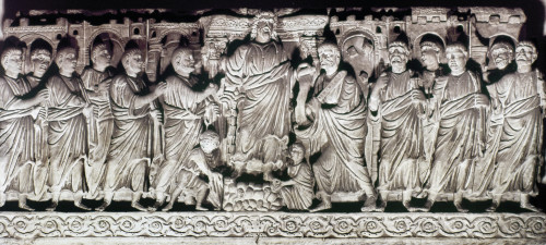 Jesus & Apostles. /Nfourth Century A.D. Sarcophagus Relief Of Christ And 12 Apostles. Poster Print by Granger Collection - Item # VARGRC0021286
