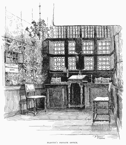 Antwerp: Printer'S Office. /Noffice Of Christophe Plantin At His Printing Shop, Antwerp, Belgium, During The 16Th Century. Line Engraving, 1888. Poster Print by Granger Collection - Item # VARGRC0097367