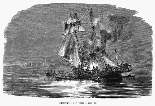 Gaspee Burning, 1772. /Nthe Burning, By A Party Of Men From Providence, Of The British Vessel 'Gaspee' Aground In Narragansett Bay, 9 June 1772. Wood Engraving, American, 1860. Poster Print by Granger Collection - Item # VARGRC0075384