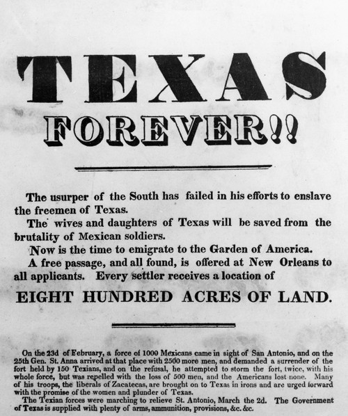Texas Broadside, 1836. /Nbroadside Advertising A Free Passage To Texas After Winning Independence From Mexico, March 1836. Poster Print by Granger Collection - Item # VARGRC0110129