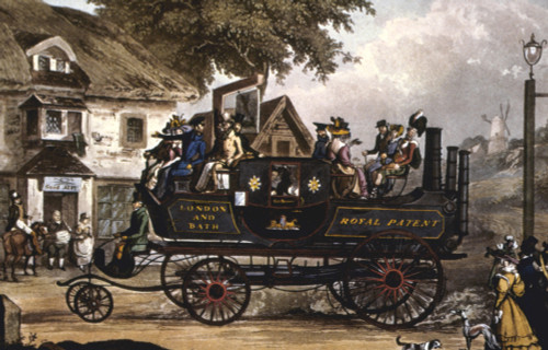 Steam Carriage. /Nlondon And Bath Steam Carriage. English Aquatint, Early 19Th Century. Poster Print by Granger Collection - Item # VARGRC0029597