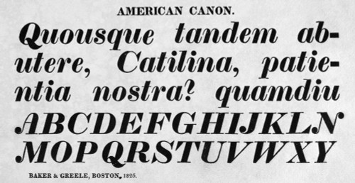 Typography, 1825. /N'American Canon,' A Typeface From The Catalog Of Baker & Greele, Boston, 1825. Poster Print by Granger Collection - Item # VARGRC0097237
