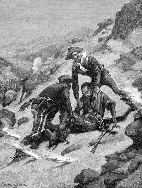 Buffalo Soldier, 1886. /Nthe Rescue Of Corporal Scott By Lieutenant Clark, Both Of The 10Th (Colored) Cavalry, Under Apache Fire. Wood Engraving, 1886, After Frederic Remington. Poster Print by Granger Collection - Item # VARGRC0028168