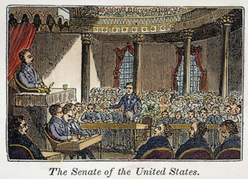 Senate Of United States. /Nthe United States Senate In Session At The Capitol In Washington, D.C. Wood Engraving, American, 1836. Poster Print by Granger Collection - Item # VARGRC0041606